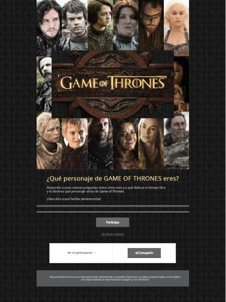 juego personalidad instagram juego de tronos